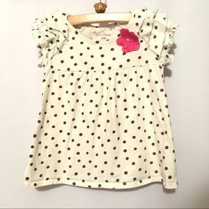 Brown polka dot white shirt with flower